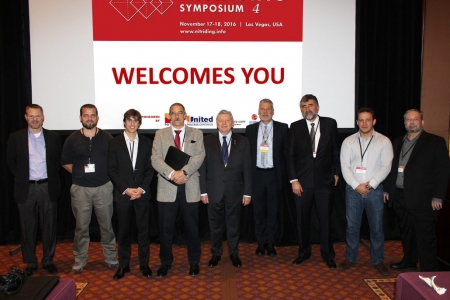 Group Photo of Speakers & Presenters at Nitriding Symposium 4 (from Left to Right) -  Mr. Gunter Connert (EMO/CIS), Prof. Sebastien Jégou (MSMP Laboratory, Arts et Métiers ParisTech), Mr. Cédric Dannoux (ALD Vacuum Systems Inc.), Mr. Karl-Michael Winter (Process-Electronic GmbH, a member of United Process Controls), Mr. Michel Korwin (Nitrex Metal Inc.), Mr. Jack Kalucki (Nitrex Metal Inc.), Dr. Joaquin Oseguera (ITESM), Mr. Andrés Bernal (Ion Heat), Mr. Patrick Torok (United Process Controls Inc.). Missing from the photograph are Mr. Shaun Radford (Continental Heat Treating Inc.), Mr. YoonHo Son (YuJin SMC Co., Ltd), and Dr. Witold Liliental (Bodycote NMT).