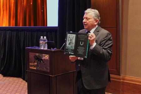 Chairman Michel Korwin Presents Hephaestus Award to Mr. John Hubbard at Nitriding Symposium 4 (NS4)